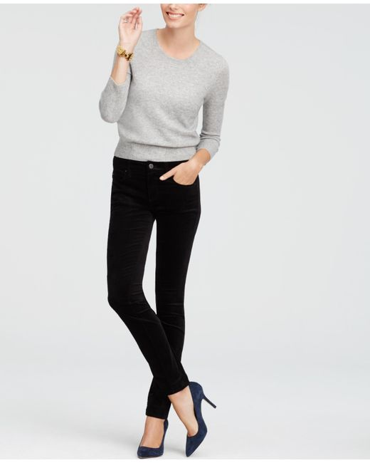 Ann Taylor | Black Petite Devin Velvet Skinny Leggings | Lyst