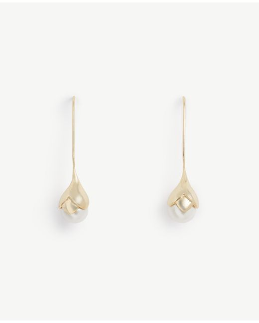 Ann Taylor | Metallic Pearlized Flower Earrings | Lyst