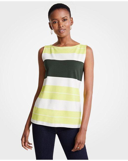 Ann Taylor - Green Petite Striped Ponte Shell - Lyst