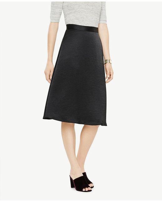 Ann Taylor   Black Satin Flare Skirt   Lyst