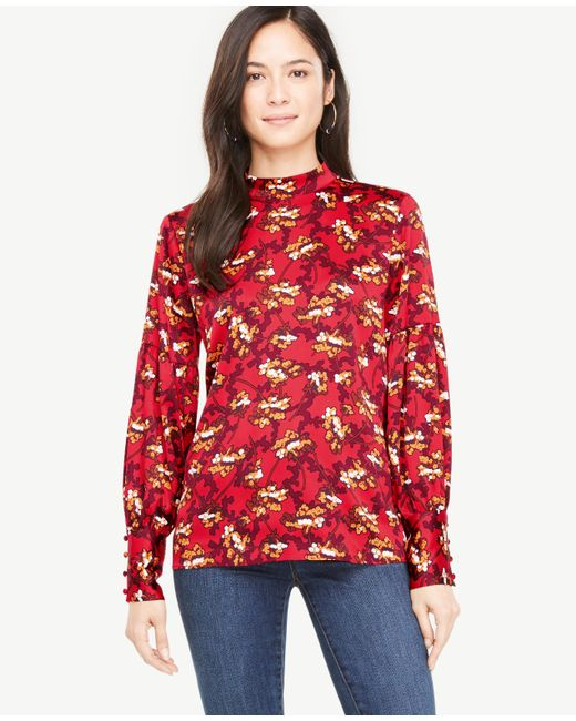 Ann Taylor | Red Petite Floral Mock Neck Lantern Sleeve Blouse | Lyst