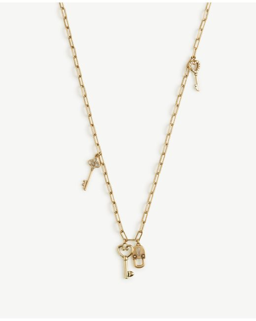 Ann Taylor | Metallic Lock And Key Layering Necklace | Lyst