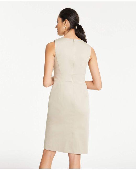 a436f5c97bd1 ... Ann Taylor - Natural Petite Cotton Sateen Twist Front Dress - Lyst ...