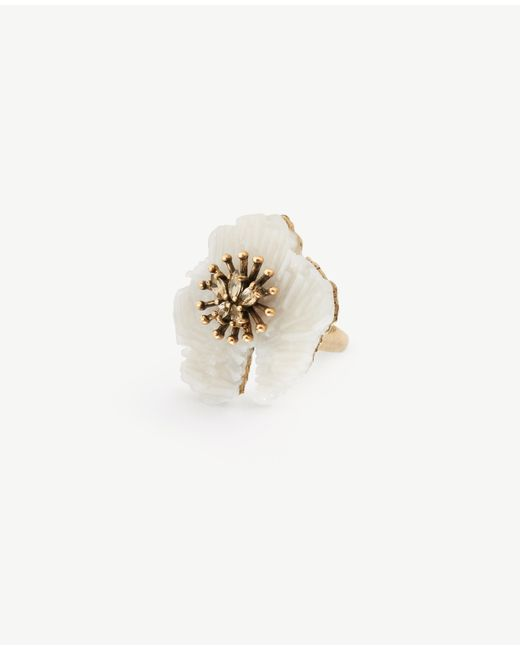 Ann Taylor   White Textured Floral Ring   Lyst