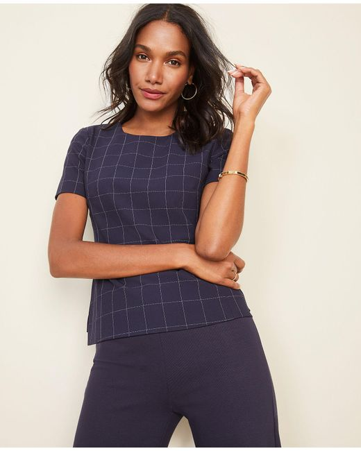 10 Best Bi Level Home Decorating Ideas: Ann Taylor The Short Sleeve Top In Navy Windowpane Bi