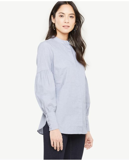 Ann Taylor | Blue Cotton Lantern Sleeve Blouse | Lyst