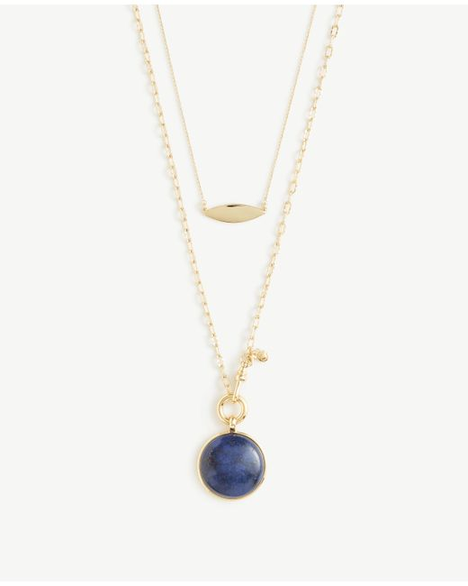 Ann Taylor | Metallic Blue Stone Pendant Layering Necklace | Lyst