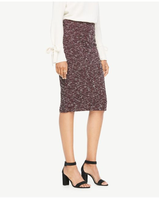 Ann Taylor | Multicolor Curvy Knit Tweed Pencil Skirt | Lyst