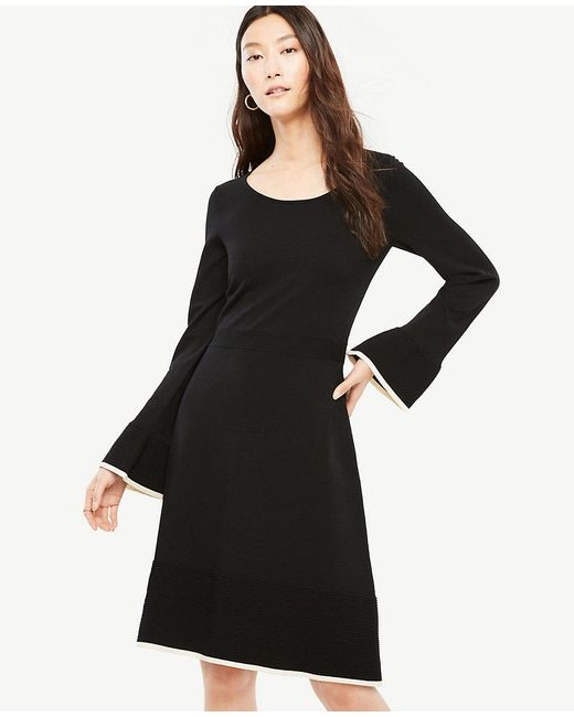 Ann Taylor | Black Petite Ruffle Flare Sweater Dress | Lyst