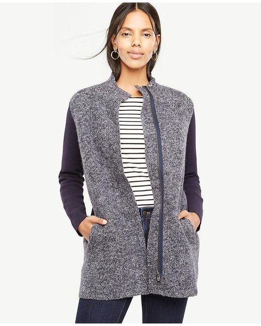 Ann Taylor | Multicolor Merino Wool Paneled Coatigan | Lyst