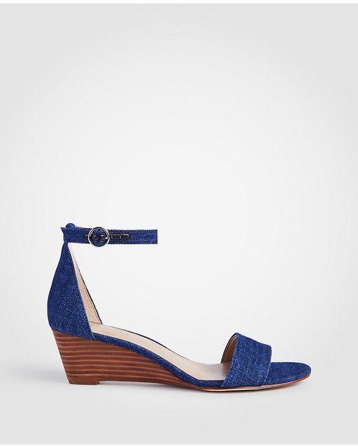 ANN TAYLOR Giuliana Metallic Leather Wedge Sandals CJdq352s8