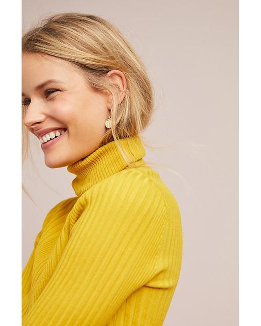 3425dbcbd97d Moth Button-sleeved Turtleneck in Yellow - Lyst