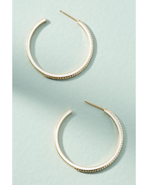 Anthropologie - White Galina Hoop Earrings - Lyst