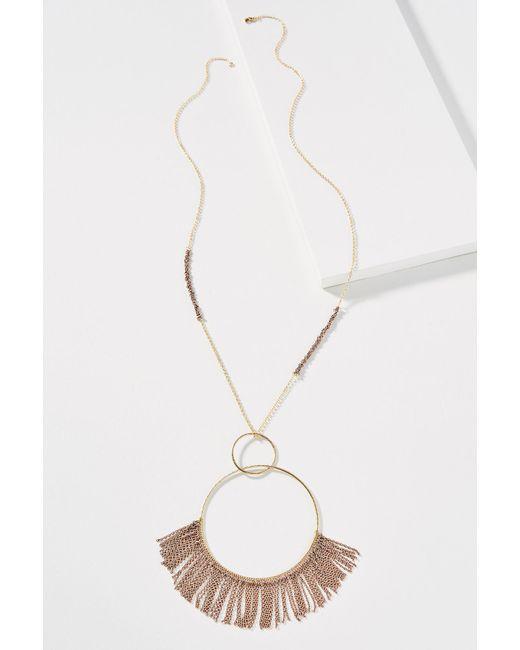 Anthropologie | Metallic Fringed Hoop Pendant Necklace | Lyst