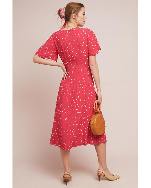 776762ef4b9 ... Anthropologie - Red Kachel Betty Spot-print Midi Dress - Lyst ...