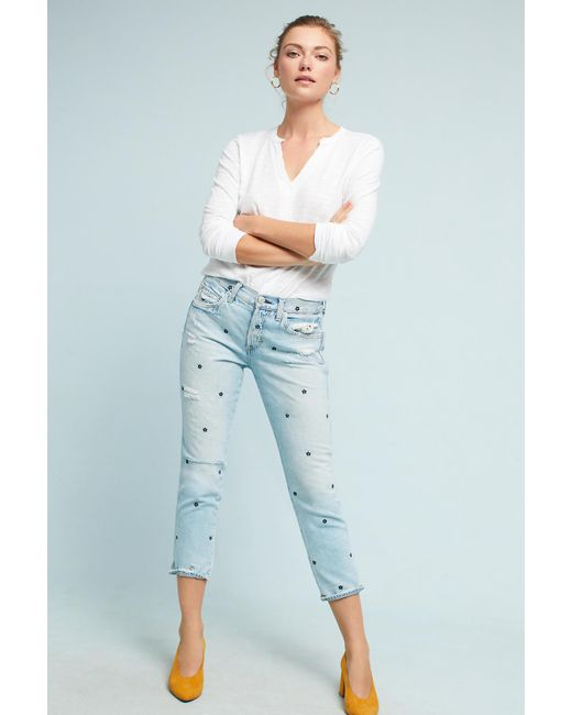 AMO | Blue Tomboy Mid-rise Cropped Jeans | Lyst