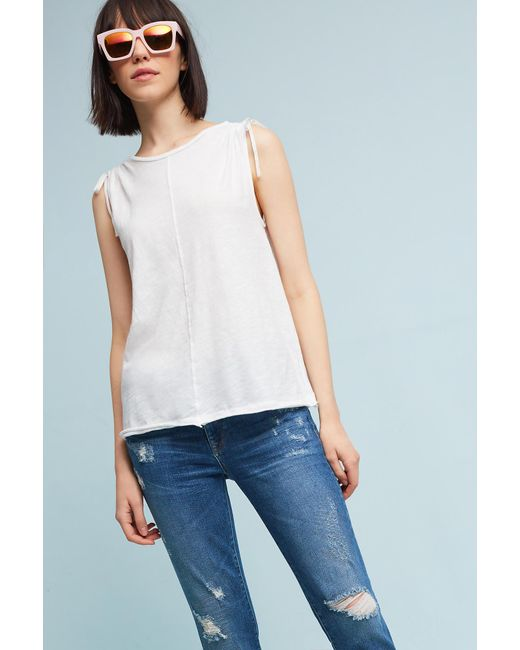 Anthropologie | White Sorena Tied-sleeve Top, Black | Lyst