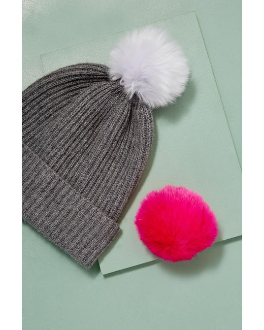 Anthropologie - Gray Wool And Cashmere 2 Pom Beanie - Lyst