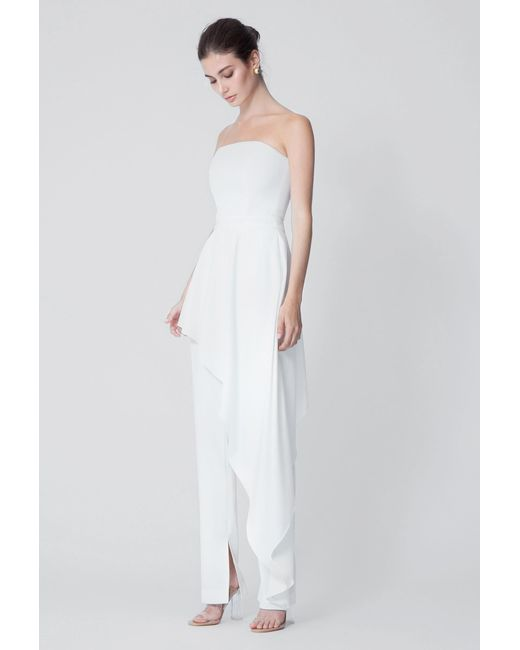 5e1050ee2cd3 AQ AQ - White Adelia Strapless Jumpsuit - Lyst ...