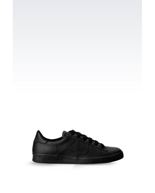 Armani Jeans | Black Sneaker In Leather With Logo for Men | Lyst