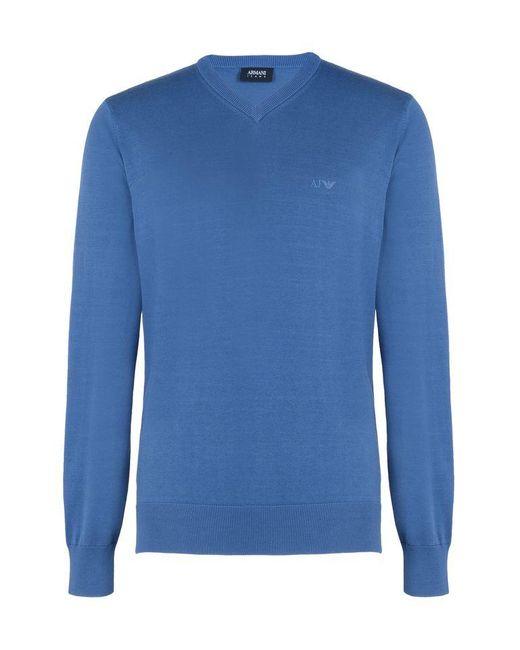 Armani Jeans   Blue V Neck Sweater for Men   Lyst