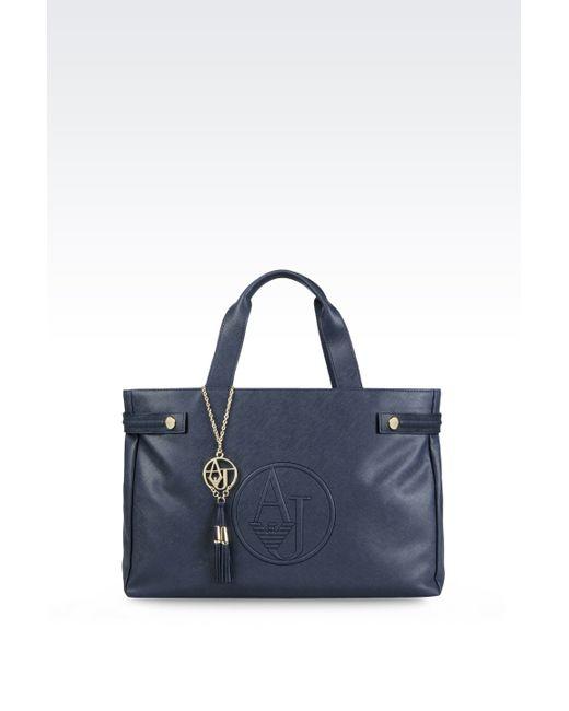 Armani Jeans | Blue Saffiano Print Tote Bag | Lyst