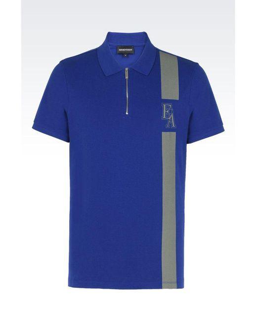 Emporio Armani | Blue Short-sleeved Polo Shirt for Men | Lyst