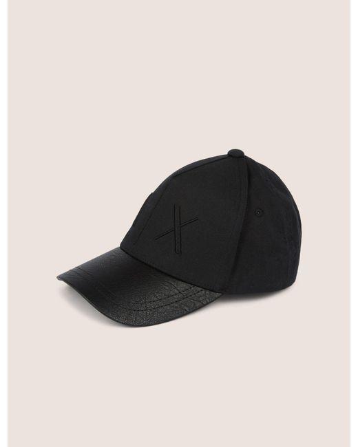 c2921ccf Armani Exchange - Black Textured Brim Tonal Logo Hat for Men - Lyst ...