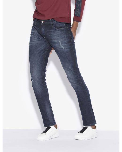 3fe8e9f5938 Armani Exchange - Blue J14 Skinny-fit Indigo Painted Jean for Men - Lyst ...