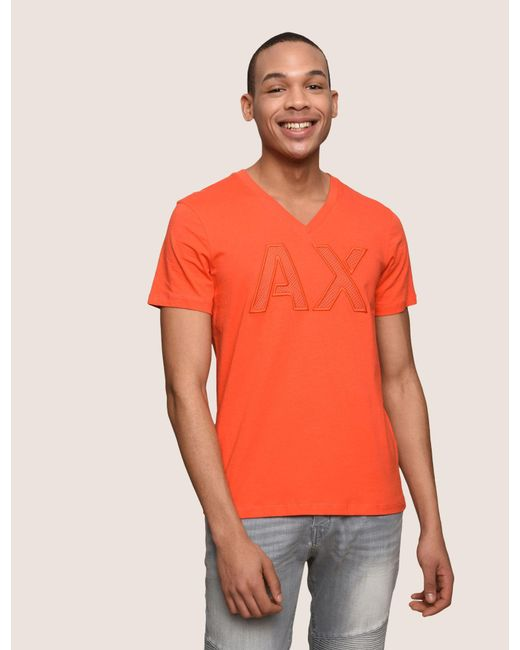 4a2c52404856d3 Armani Exchange - Orange Mesh Logo V-neck Tee for Men - Lyst ...