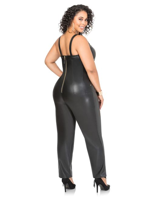Ashley Stewart Faux Leather Military Overalls In Black