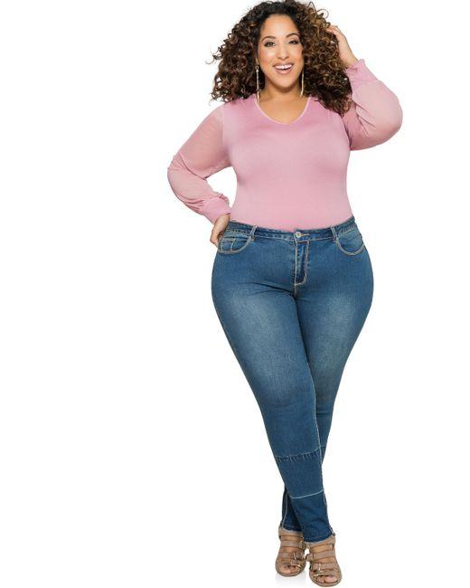 Ashley Stewart Release Hem Skinny Jean In Blue