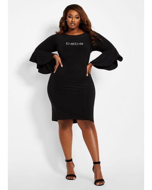 Ashley Stewart Plus Size Bebe Logo Bell Sleeve Dress in Black - Lyst
