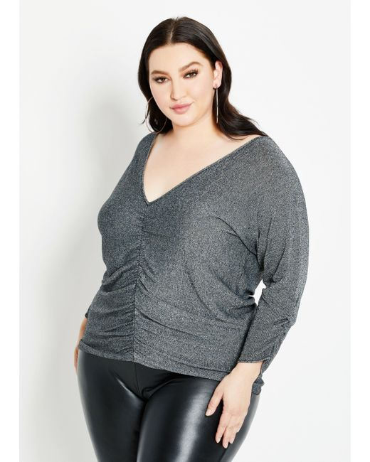 Ashley Stewart Metallic Plus Size Ruched Lurex Cutout Sweater