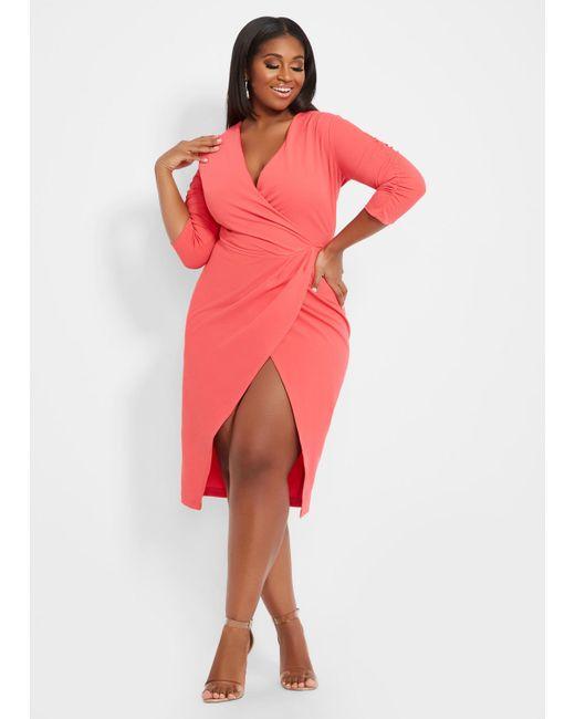 Ashley Stewart Plus Size Faux Wrap Dress - Lyst