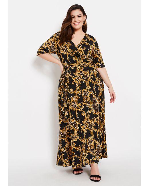 Lyst - Ashley Stewart Plus Size Status Animal Print Faux Wrap Dress ...