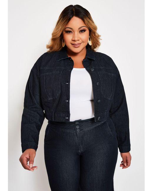 fba703aca Lyst - Ashley Stewart Plus Size Cropped Denim Jacket in Blue