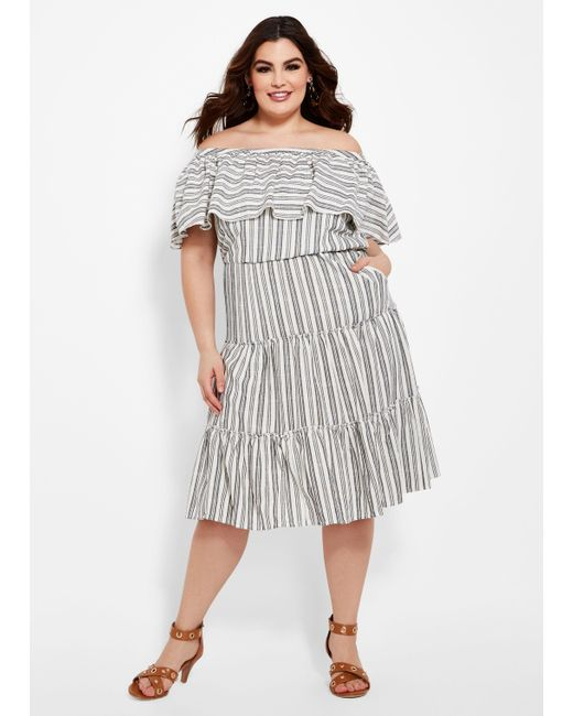 Ashley Stewart Plus Size Stripe Ruffle Tiered Linen Dress in Blue - Lyst