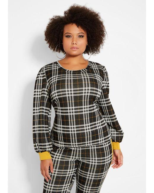 Ashley Stewart - Multicolor Plus Size Menswear Print Balloon Sleeve Top - Lyst
