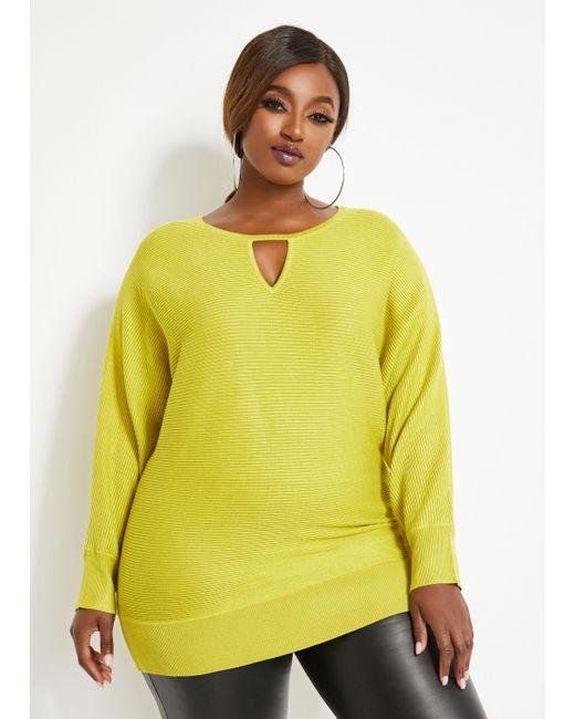 Ashley Stewart Yellow Plus Size Keyhole Dolman Sleeve Sweater