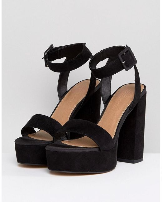 53534dc432e3 ... ASOS - Black Hostess Platform Heeled Sandals - Lyst