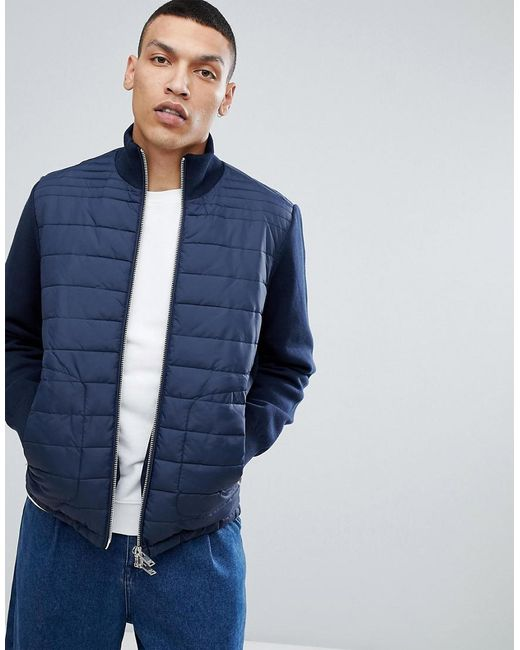SELECTED - Blue + Quilted Jacket With Knitted Sleeves for Men - Lyst