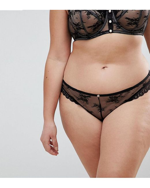 ASOS - Black Premium Pearl & Lace Brazilian Pant - Lyst