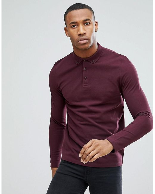 ASOS - Red Long Sleeve Pique Polo With Button Down Collar for Men - Lyst