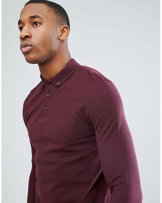 ASOS DESIGN - Long Sleeve Pique Polo With Button Down Collar In Red for Men - Lyst