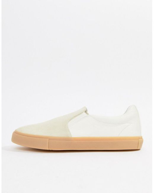 ASOS DESIGN slip on plimsolls in real stone suede deals for sale rstuVlUn