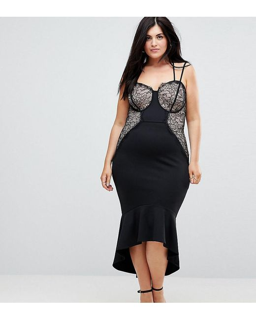 6bbe5ad83fbd ASOS - Black Lace Cupped Pephem Strappy Bodycon Dress - Lyst ...