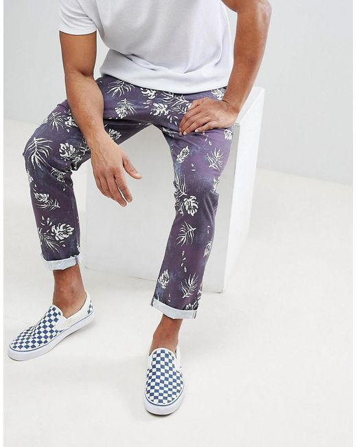 ASOS DESIGN - Blue Asos Slim Cropped Pants In Vintage Washed Out Leaf Print for Men - Lyst