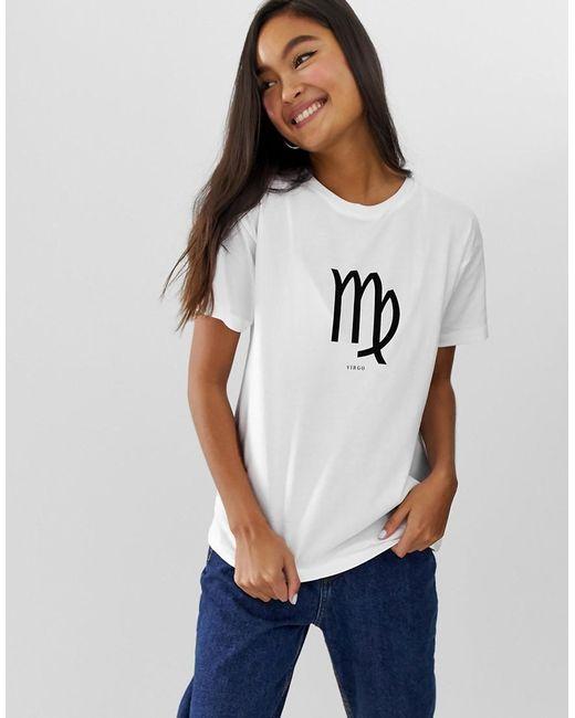 d4d0adfb ASOS - White T-shirt With Virgo Libra Scorpio Sagittarius Starsign Print -  Lyst ...