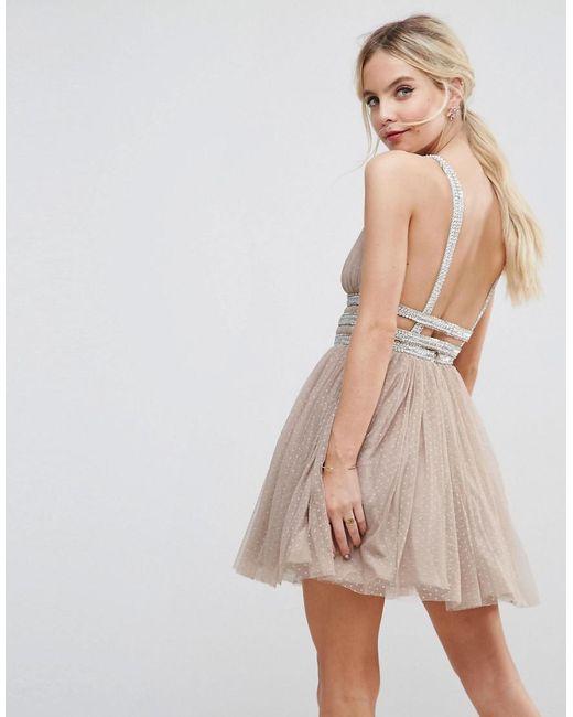 ... ASOS - Natural Tulle Strappy Embellished Mini Skater Dress - Lyst 164a241d6